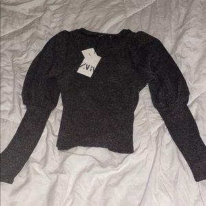 Zara basic puffy sleeved sweater